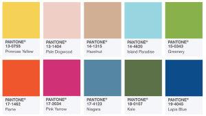 En färgkarta med olika färgtoner.