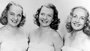 Laulutrio Harmony Sisters: Raija Valtonen, Maire Valtonen ja Vera Valtonen 1940-luvulla