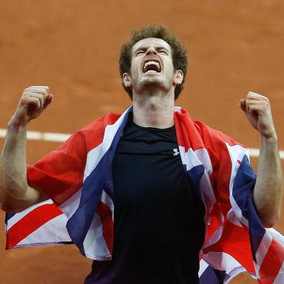 Andy Murray firar Davis Cup-titeln, hösten 2015.