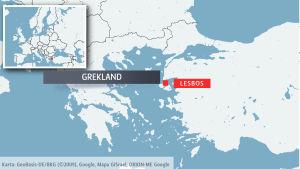 Ön Lesbos på karta.