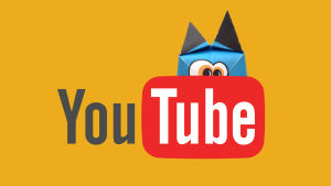 Grafik med hajbofigur som gömmer sig bakom youtube logon