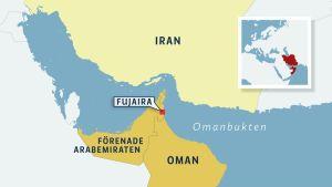 Karta över Omanbukten.