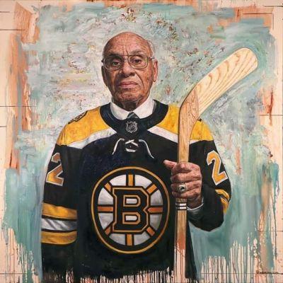 Stiliserad bild av hockeyspelaren Willie O'Ree