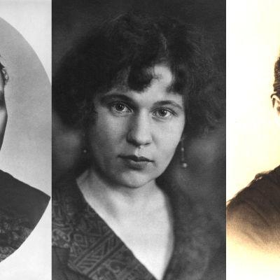 Kirjailijat Minna Canth, Katri Vala ja Hilja Haahti