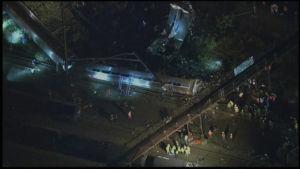 Tågolycka nära Philadelphia.