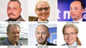 Bildcollage av kandidaterna i Sannfinländarnas ordförandeval 2017.
