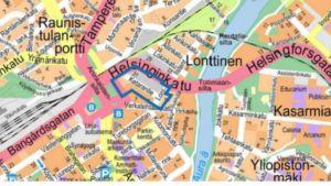 Karta över Helsingforsgatan i Åbo.