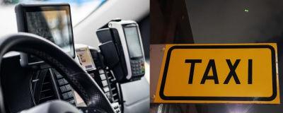 Ratt, navigator och taxameter i en bil samt en skylt där det står taxi.
