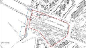 En svartvit karta där ett område har ringats runt med rött.