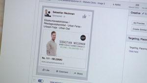 Facebook-reklam för riksdagsvalskandidaten Sebastian Weckman.