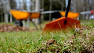 Krattor och skottkärror i orange på grönt gräs.