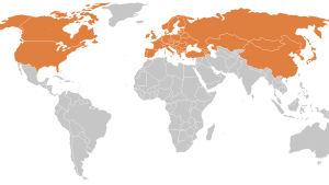 Karta över länder med verfierad borreliainfektioner.