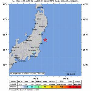 Jordbävning i Japan.