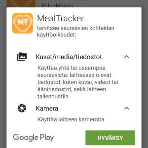 MealTracker-sovelluksen vaatimat oikeudet matkapuhelimessa