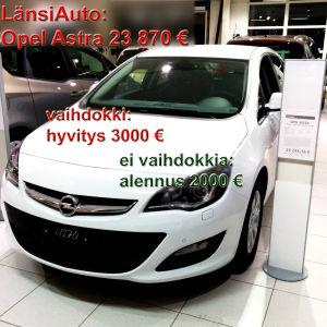 Opel Astra 23 870 €, LänsiAuto. Vaihdokki: hyvitys 3000 €, ei vaihdokkia: alennus 2000 €