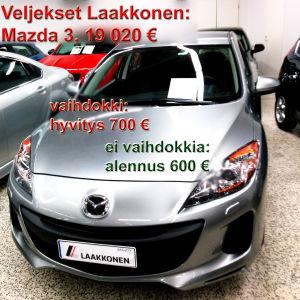 Mazda 3, 19020 €, Veljekset Laakkonen. Vaihdokki: hyvitys 700 €, ei vaihdokkia: alennus 600 €.