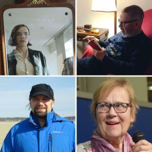 Bildkollage med fyra finlandssvenska poeter: Matilda Södergran, Tomas Mikael Bäck, Ralf Andtbacka och Tua Forsström.