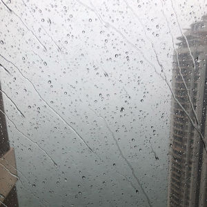 Utsikt över Hongkong under tyfonen Mangkhut 2018.