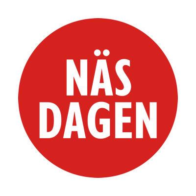"""Näsdagens logo 2019. Vit text (""""näsdagen"""") på röd bakgrund."""