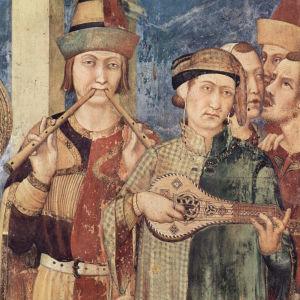 Kitaran (Gitternin) ja auloksen soittajat Martin von Toursin elämästä kertovassa freskossa