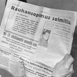 tidningsrubrik, 13.3 1940