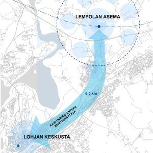En karta med en blå pil.