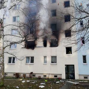 Femvåningshuset i Blankenburg i östra Tyskland där explosionen inträffade.