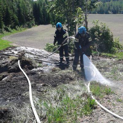 Två brandmän släcker en brand.