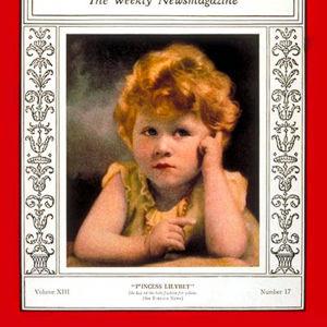 Tre år gamla prinsessan Elizabeth (sedermera drottning Elizabeth II av Storbritannien) på Time Magazines omslag 1929.