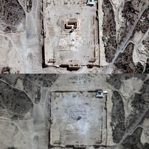 FN:s satellitbilder bekräftar att Islamiska staten har förstört huvudbyggnaden i Bel-templet i syriska Palmyra 31.8.2015.