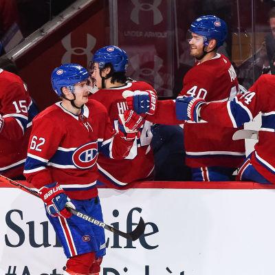 Artturi Lehkonen jublar efter ett mål för Montreal.