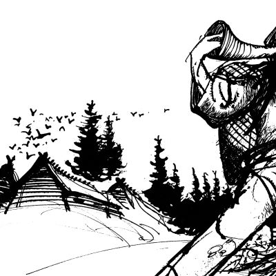Mustavalkoinen kuva, jossa Kullervo soittaa torvea ja pakenee (piirros)