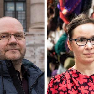 Kuvassa ovat kielentutkija Vesa Heikkinen ja kirjailija Rosa Meriläinen.