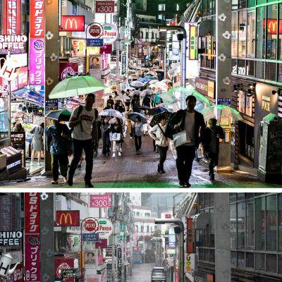 Yhdistelmäkuvassa näkyy Tokion suositun Harajuku-ostosalueen katunäkymä perjantai-iltana 11. lokakuuta (ylempi kuva) ja lauantaiaamuna 12. lokakuuta (alempi kuva).