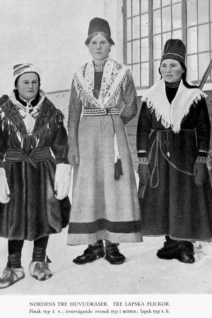 Tre samiska flickor i rasbiologisk bok The Racial Characters of the Swedish Nation.
