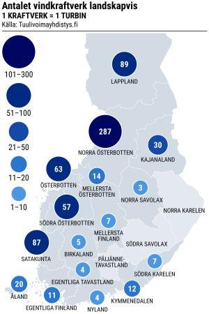 Grafisk karta över Finland med antalet vindkraftverk utmärkta.
