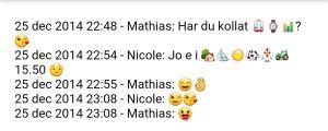 En chat med emojier mellan två personer på Whatsapp.