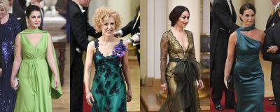 fyra kvinnor i gröna klänningar, kollage