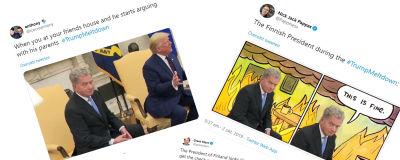 Memer/mem av Sauli Niinistö och Donald Trump