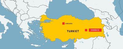 Karta där Turkiet är gulmarkerat och Ankara och Sivrice utmärkt.