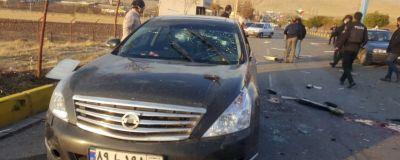 Bilen på bilden bär spår av den attack som ledde till att en ledande iransk kärnfysiker dödades den 27 november.
