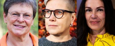 Bildcollage med tre kvinnoansikten bredvid varandra.