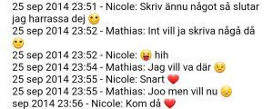 Chat med emojier mellan två personer på Whatsapp.