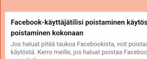 Kuvassa näkymä jossa pääsee poistamaan FB-tilin käytöstä