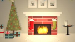 Jouluinen huone, takkatuli ja joulukoristeita. Piirros.