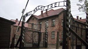 Huvudingången till Auschwitz.
