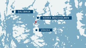 En karta över skärgården utanför Dalsbruk.