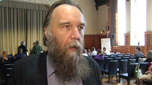 Den ryska extremnationalisten och sociologiprofessorn Aleksandr Dugin besökte Helsingfors den 18 maj 2014.