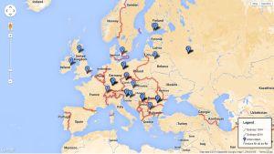 Karta över Europa 1914 ett EBU projekt.