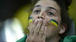 Ett brasilianskt fan som gråter